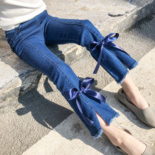 Fashion Autumn Boot Cut Girls Jeans Teenager Children Pants Kids for Trousers with Bowknot