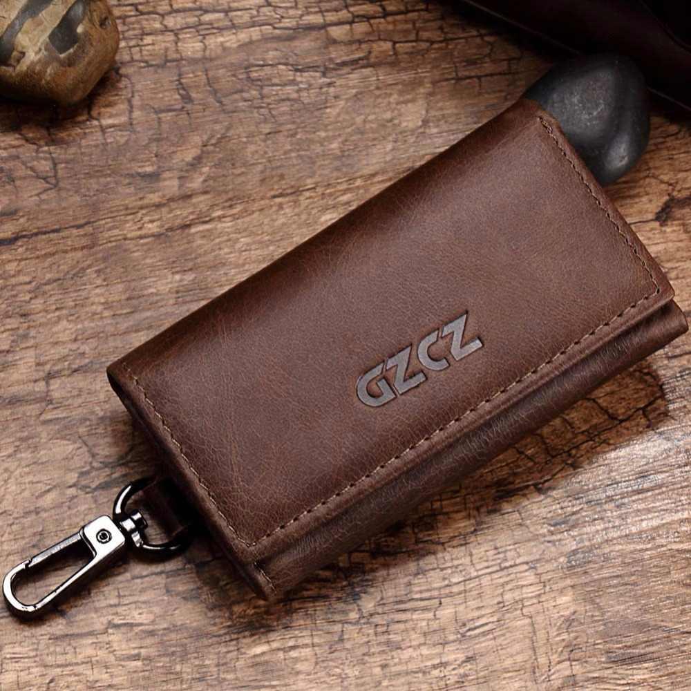 GZCZ кошелек из натуральной кожи для ключей мужской держатель кошелек для ключей кошелек на молнии дизайнерский кошелек для монеток карманные деньги Walet мужской тонкий Vallet женский