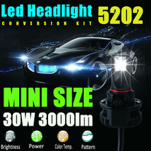 5202(9009/H16/PS24W/PS24WFF) 6000LM LED Headlight Conversion Kit Low beam headlamp Fog Driving Light DRL lamp HID or Halogen