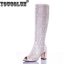 YOUGOLUN Women Summer Knee High Boots Sexy Ladies Thick Heel(7cm) Peep toe Shoes Elegant White Blue Black Hollow Crystal Heels