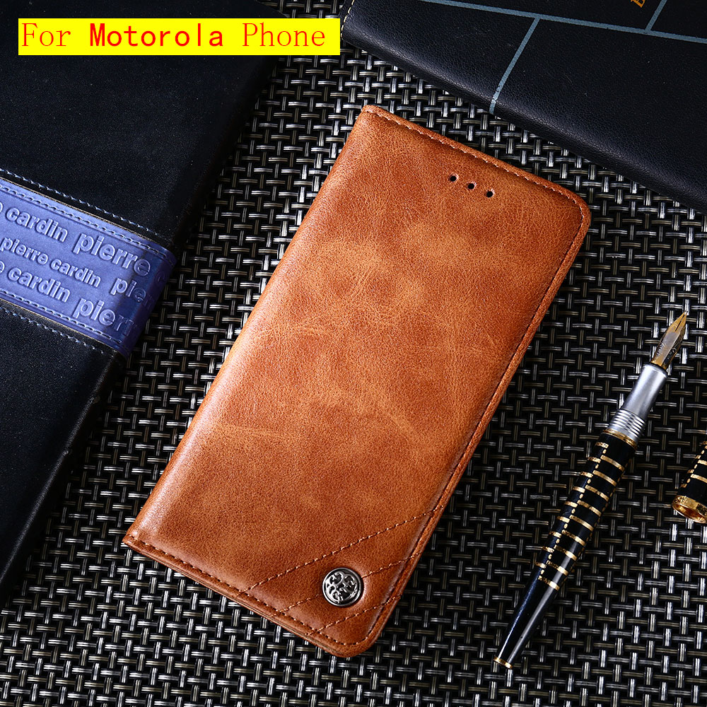 Magnetic Vintage Wallet Phone Case For Motorola G4 G5 G5 G6 G7 G4 Plus Play C Plus X4 E5 Plus Moto P30 Note Play Leather Classic