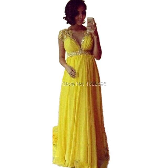 Vestido amarillo largo para embarazada