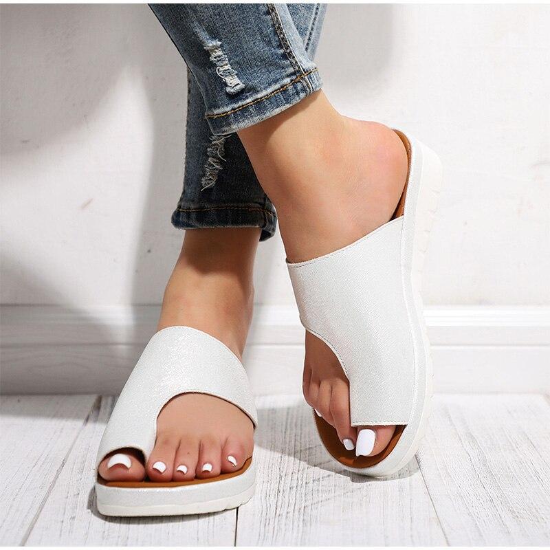 HTB1QFHIawaH3KVjSZFjq6AFWpXa4 MCCKLE Women Comfy Plain Shoes Flat Platform Ladies Casual Big Toe Foot Correction Sandals Orthopedic Bunion Corrector Flip Flop
