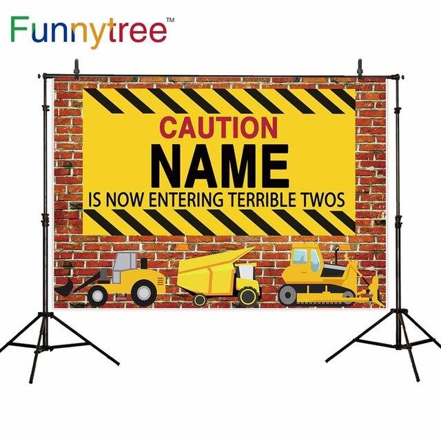 Funnytree backdrop for photo studio brick wall cartoon builder truck construction theme birthday custom background photocall
