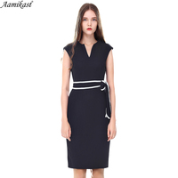 Aamikast Womens Sexy Elegant V Neck Sleeveless Belted Business Casual Party Club Wear To Work Office