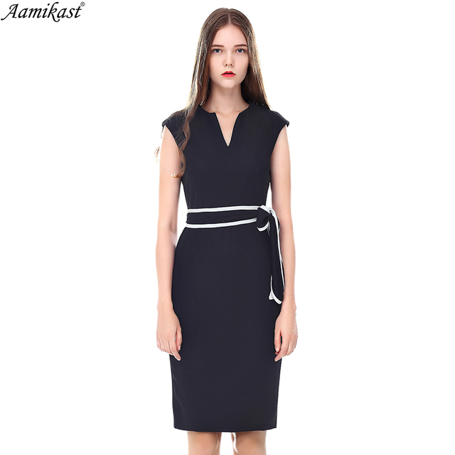 Aamikast Womens Sexy Elegant V Neck Sleeveless Belted Business Casual Party  Club Wear To Work Office Pencil Sheath Bodycon Dress d137365a373b