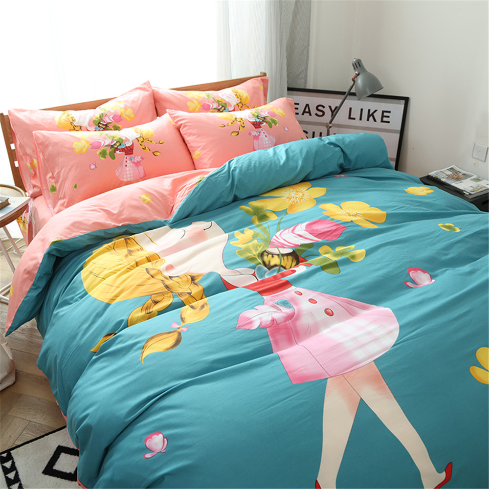 Bed sheets designs for girls - Japanese And Korean Style Cartoon Design Girls Bedding Sets 3 4pc Include1pcs Duvet Cover 1pcs Bed Sheet 1 2pc Pillowcase Hot In Bedding Sets From Home