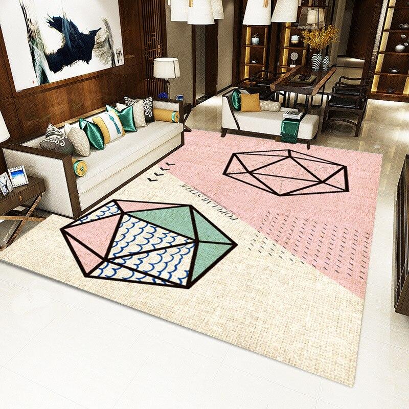 US $2.52 41% OFF|Różowy dywan do salonu Cute Cartoon geometryczne dziecko zagraj Mat dywany dla dzieci pokój sypialnia lampki nocne dziecko