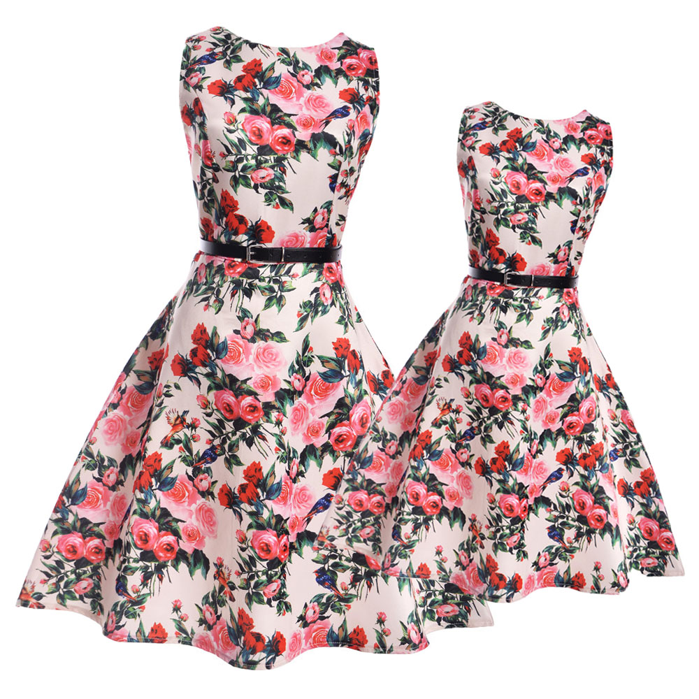 Mother Daughter Dresses Big Girls Flower Dress Teenage Casual Dress Mother Daughter Clothes Family Matching Clothing for Kids