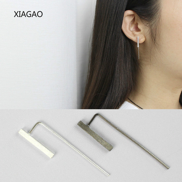 700d27bf9756 XIAGAO Fashion Sterling Silver Jewelry Costume Jewelery Earrings 925 Silver  Women Black Silver Color Simple