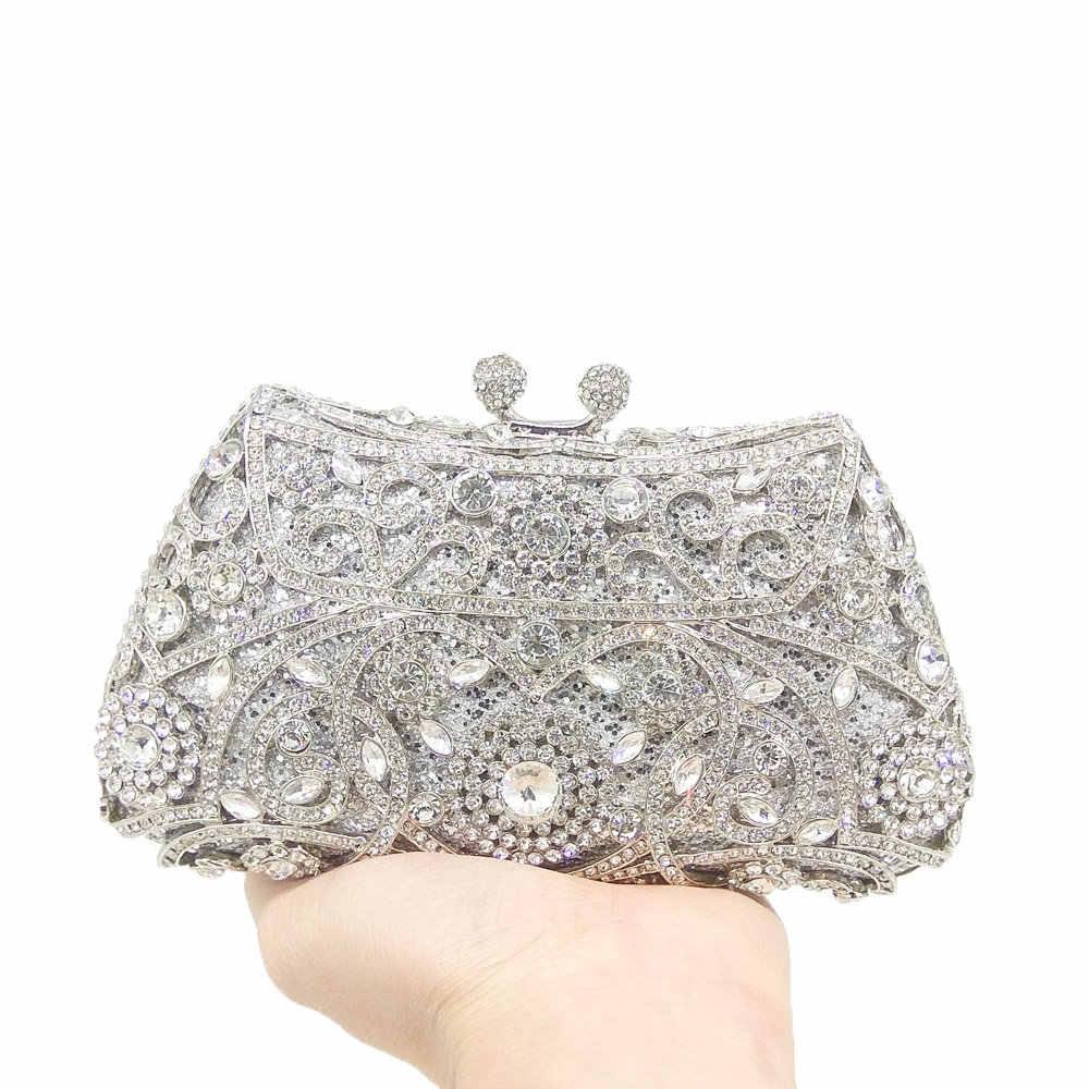 ... Boutique De FGG Sparkling Silver Women Crystal Clutch Evening Bags  Bridal Diamond Clutch Purse Wedding Party ... 028f9d93b993