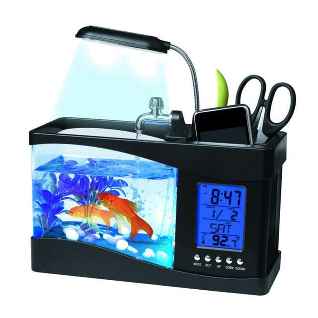 Новинка популярные новые мини настольных аквариум USB Аквариум ЖК-дисплей настольных ламп с Черный и белый Цвет