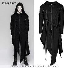 Панк рейв мужской Готический съемный рукав длинный Асимметричный пиджак в стиле панк уличный стиль свободный длинный балахон мужские пальто ветровка
