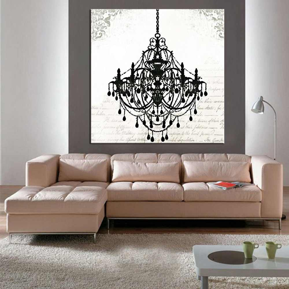 1 panel  Modern still life painting canvas art crystal chandelier pattern retro living room bedroom wall art