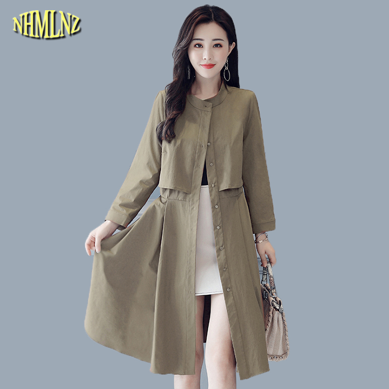 Women Coat Fashion Spring Autumn Hooded Medium long   Trench   Coat 2019 Casual Slim Long sleeve Solid Thin Female Outerwear WK298