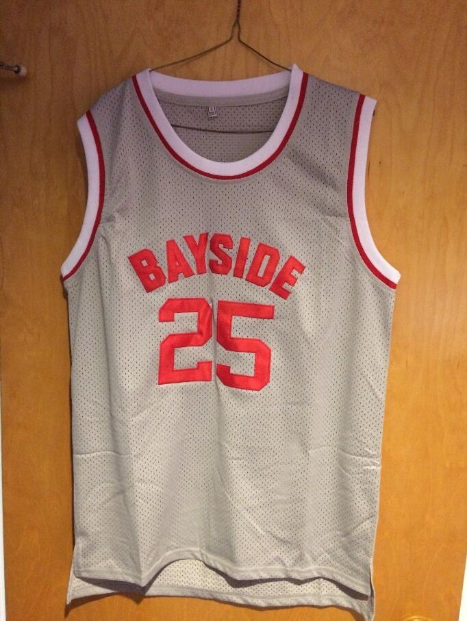 Prix pour DropShipping de Basket-Ball Jersey Cloche Zack Morris 25 Bayside Tigres de Basket-Ball Jersey Tous Cousu-Gris S M L XL XXL XXXL
