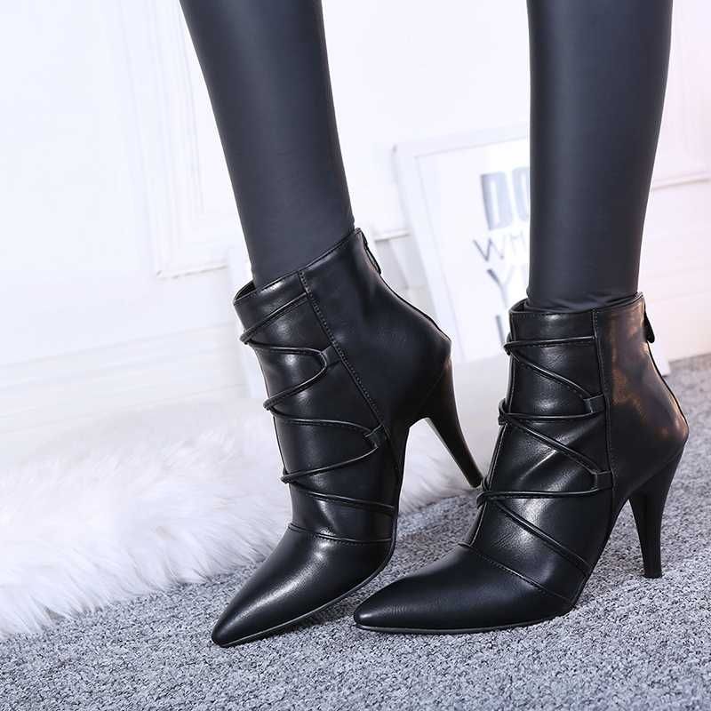 REAVE KEDI 2018 Kış Pu Yeni Moda Kadın yarım çizmeler Güzel Sivri Burun Başak Topuklu Çizmeler Şık siyah ayakkabı Kadın Fermuar A976