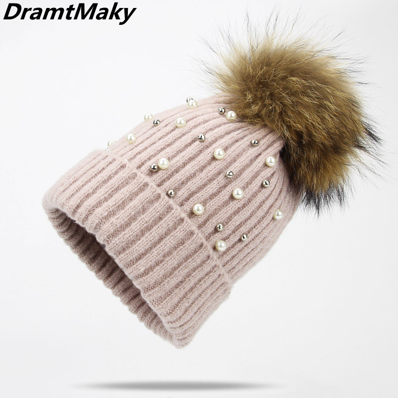Pearl Wool   Beanies   Women Real Natural Fur Pom Poms Fashion Pearl Knitted Hat Girls Female   Beanie   Cap Pompom Winter Hat for Women