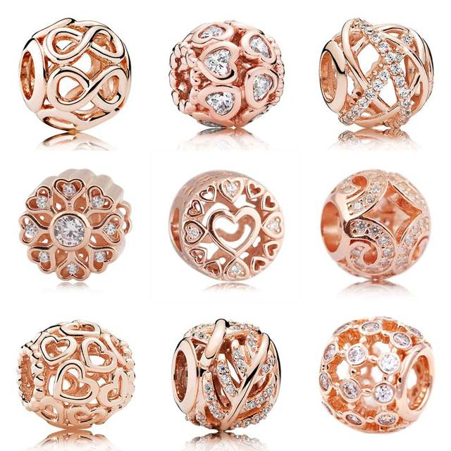 Rose Gold Openwork Galaxy Infinite Shine Open Your Heart Beads Fit