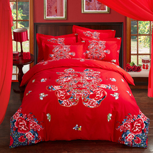 Hongbo 4 Pcs/Set Luxury Bedding Set Red Pink Wedding Bed 100% Cotton Spread Duvet Cover