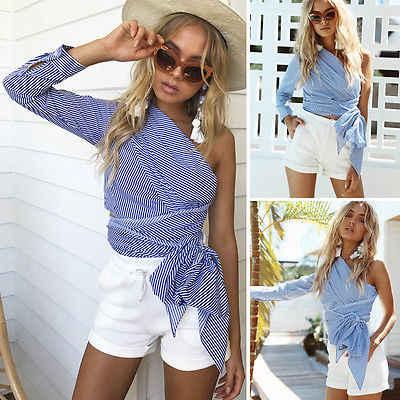 951ff5036eea7a ... Women off shoulder striped shirts blue single shoulder backless long  sleeve blouses casual tops ...