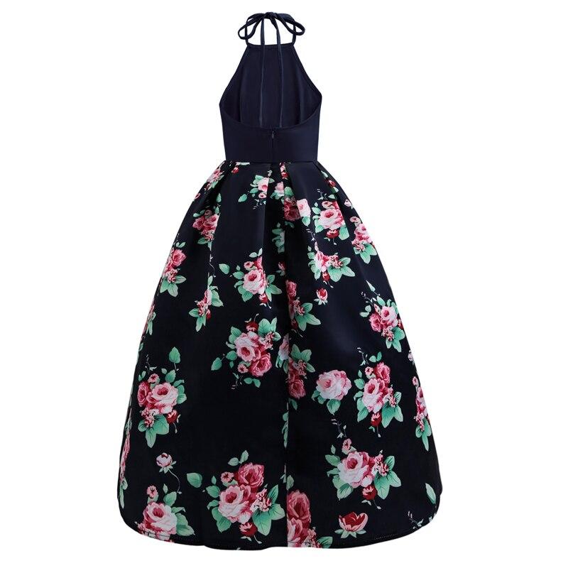 Européenne pendaison cou Patchwork fleur impression robe mode nouveau été femmes grande balançoire robes élégant Sexy sauvage longue robe CK412
