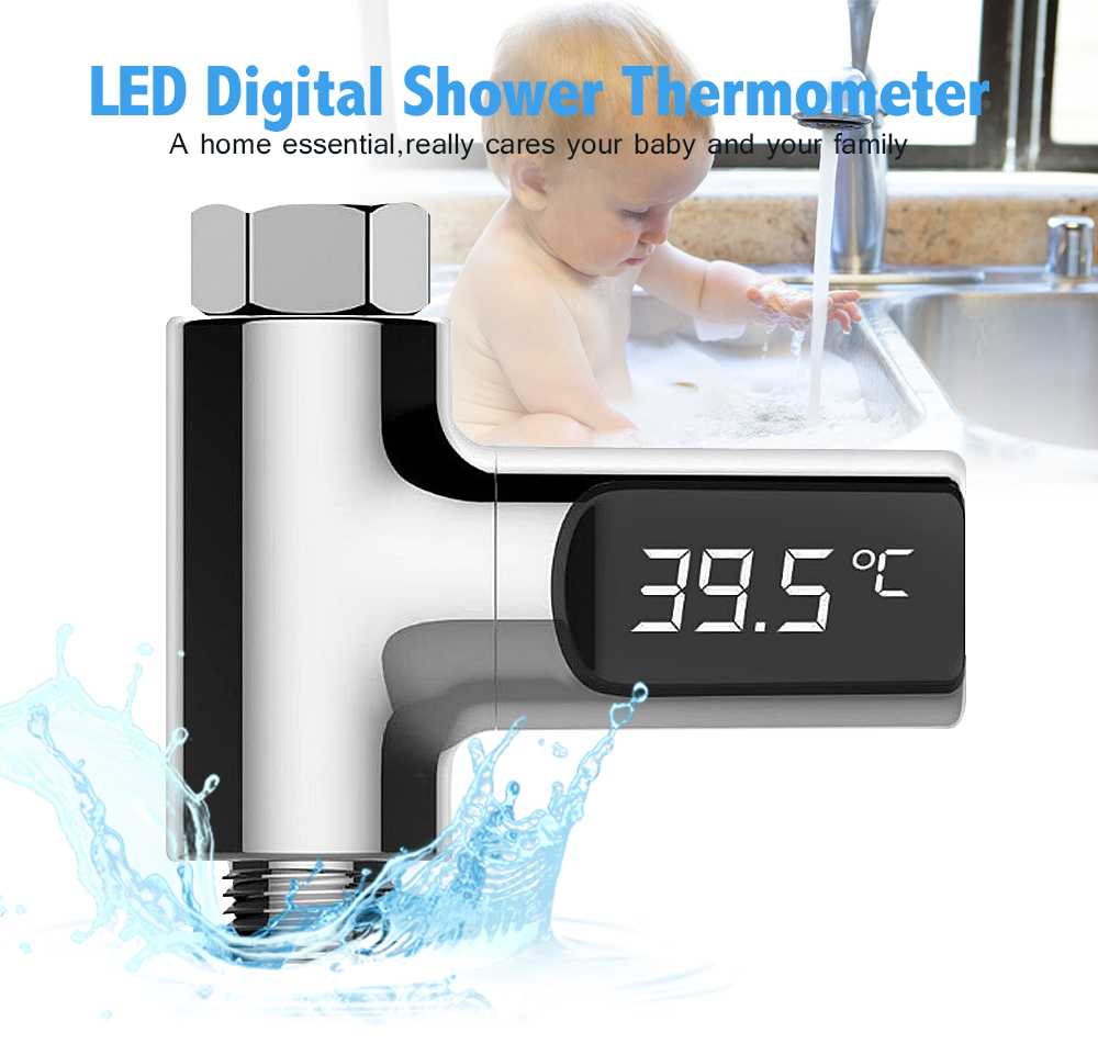 LW-101 LED Display Home Water Shower Thermometer Flow Self-Generating Electricity Water Temperture Meter Monitor For Baby Care