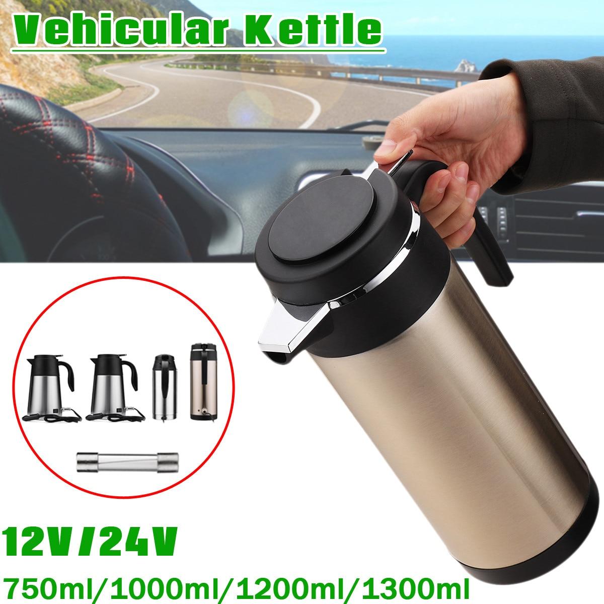 750ml/1000ml/1200ml/1300ml Car Heating Cup Electric Kettle Pot Camping Travel Trip Coffee Tea Water Heated Mug Boiling 12/24v