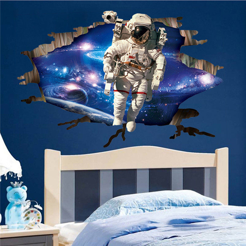 3d astronaut wall decor mirror wall types outer space planet 3d wall sticker room decor galaxy astronaut mural removable decals home online shop astronauts nursery living room bedroom backdrop solar