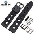 HENGRC 22mm Cinta Faixa de Relógio de Homens de Mergulho Suave Buraco Negro de Borracha de Silicone Esporte Pulseira Bracelete de Metal Pin Fivela Acessórios