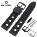 HENGRC 22mm Rubber Watch Band Strap Men Soft Diving Black Hole Silicone Sport Watchband Bracelet Metal Pin Buckle Accessories