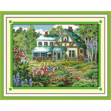 Everlasting love The fairy tale hut Chinese cross stitch kits  Ecological cotton 11CT stamped DIY Christmas decorations for home
