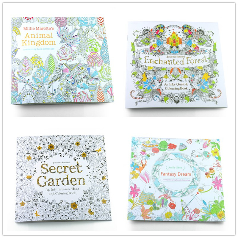 Aliexpress Buy 4Pcs Lot New 24 Pages Mixed Styles Relieve Stress Kids Adult Fantasy Dream Drawing Secret Garden Kill Time Coloring Book H2178 From