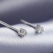0.06ct алмазные серьги золотые 18K Роскошные ювелирные изделия для женщин маленький алмаз два цвета на выбор