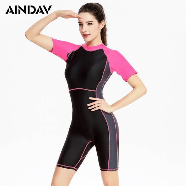 40b8e5f072 Athlete Short Sleeve Swimwear Fifth Panties One Piece Swimsuit Sports Suit  Racing Swimming Suit for Women Surf Bathing Suit XXXL