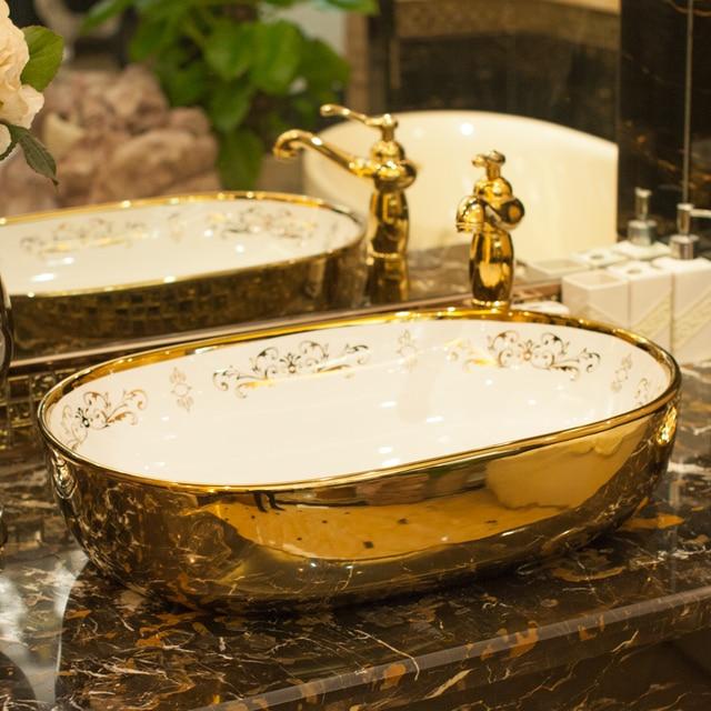 Golden Chinese Jingdezhen Art Counter Top Ceramic Wash Basin Bathroom Sinks Hand Painted Oval