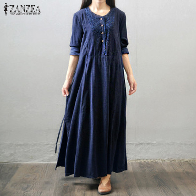 ZANZEA Oversized Vestidos 2018 Women Retro Long Maxi Dress Autumn Long  Sleeve Lace Embroidery Buttons Casual Loose Elegant Dress 8739cded49fd