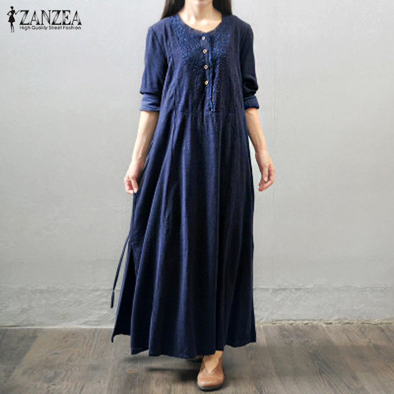 ZANZEA Oversized Vestidos 2018 Women Retro Long Maxi Dress Autumn Long Sleeve Lace Embroidery Buttons Casual Loose Elegant Dress