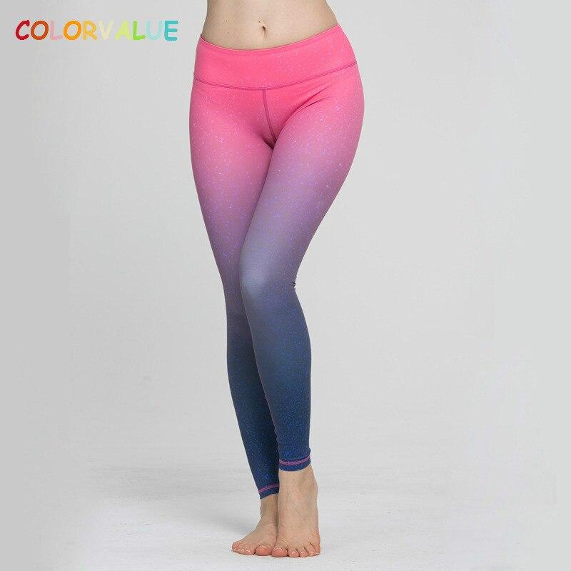 Colorvalue Gradient 3D Printed Yoga Pants Women Push Hip font b Fitness b font Running Leggings