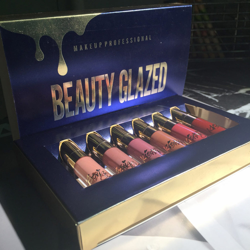 High Quality BEAUTY GLAZED 6Pcs/Set Lipstick Lip Gloss Matte Long-lasting Waterproof Makeup Tools 2018 New  88