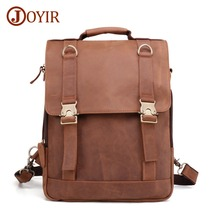 JOYIR Crazy Horse Cowhide Men Backpack Genuine Leather Vintage Daypack Travel Computer School Book Bags Male Laptop Bag Knapsack недорго, оригинальная цена