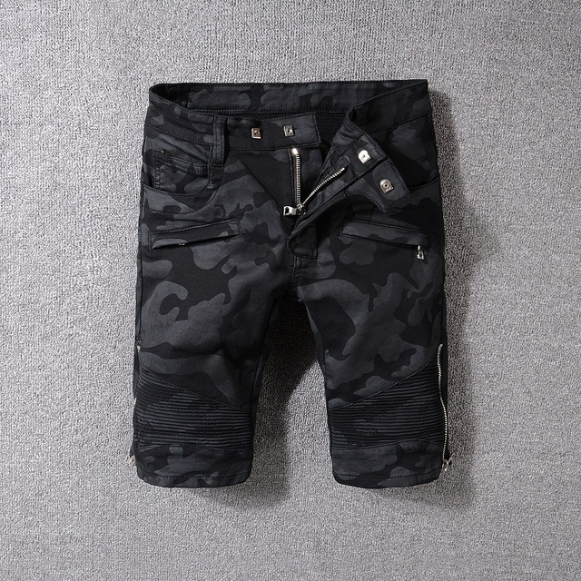 New France Style #1810# Mens Stretch  Shorts Pants Camouflage Black Zipper Biker Jeans Slim Ribbed Jeans Size 29-42