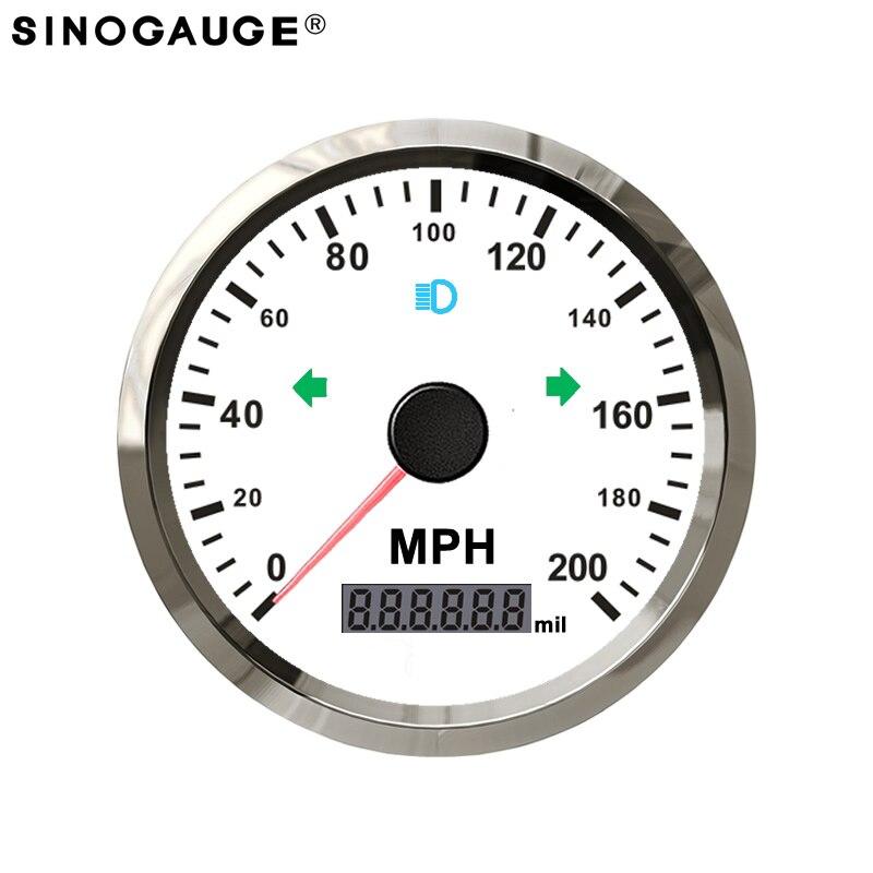 200MPH Livraison Gratuite GPS Compteur De Vitesse Moto IP67 Étanche Anti-Buée 12/24 V Blanc Gauche Droite Haute Faisceau Voyant