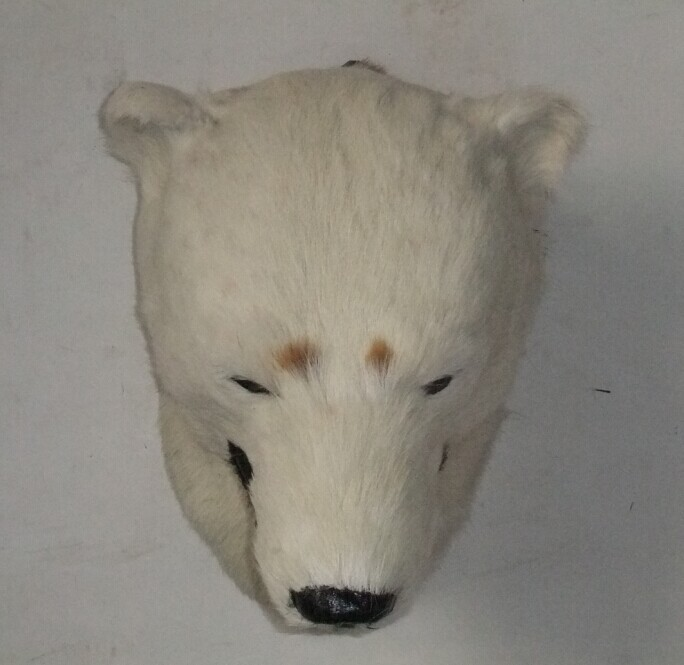 new simulation polar bear head toy handicraft lovely polar bear head articles gift about 27x28cm big cute simulation polar bear toy handicraft lovely white polar bear doll gift about 31x18cm