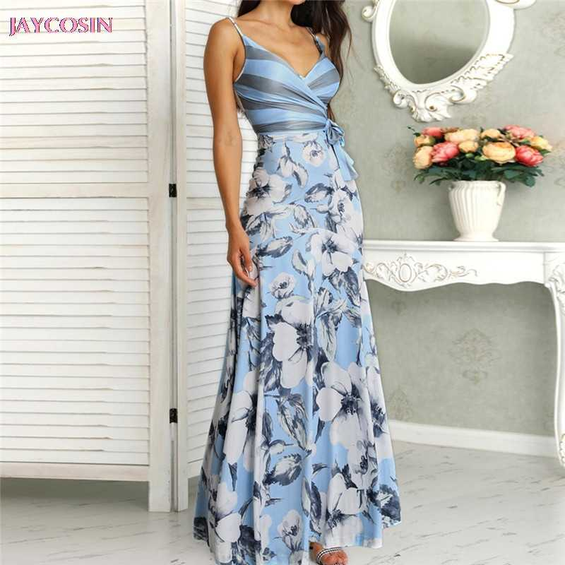 Womens Casual Peacock Feather Print Thigh Slit Slip Dress