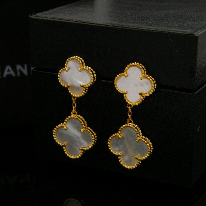 white shell clover fashion dangle earring for women