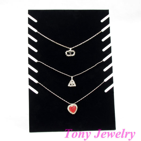 TONVIC Wholesale 4 Black Velvet Necklace Display Stand Board For 8 Pcs TVC-WHNS-01