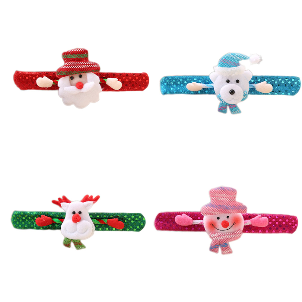 1PC Merry Christmas Novelty Christmas Slap Bracelet Christmas Tree Decor Pat Pat Circle Hand Ring Children Gift Toys