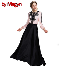 by Megyn High Quality Autumn Winter Women's Clothing Sets Lace Shirts Tops +  Ankle Length Skirt Dress Suit LD458