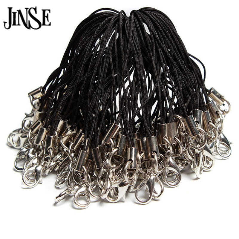 JINSE Mobile Phone Mp4 Lobster Clasp Nylon String Strap Black Lobster clasp mobile phone lanyard 95Pcs MS001 in Key Chains from Jewelry Accessories
